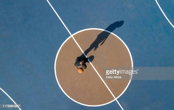 Aerial shot of basketball basketball player on court