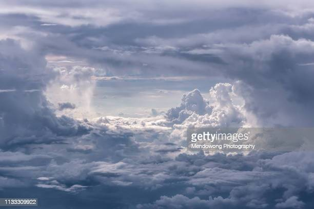 aerial shot of blue sky with clouds - heaven stock pictures, royalty-free photos & images