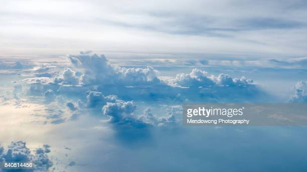 aerial shot of blue sky with clouds - sopra foto e immagini stock