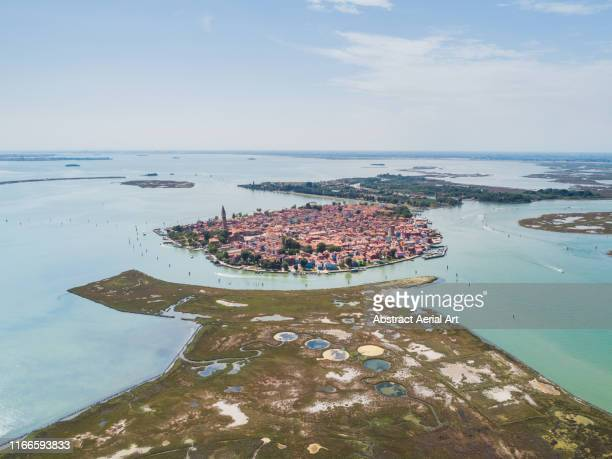 aerial shot of burano, venetian lagoon, italy - burano foto e immagini stock