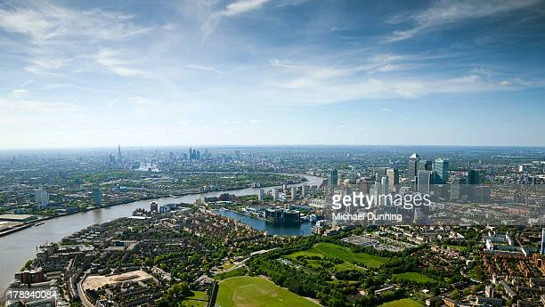 aerial shot of canary whark and city,london - london docklands stock pictures, royalty-free photos & images