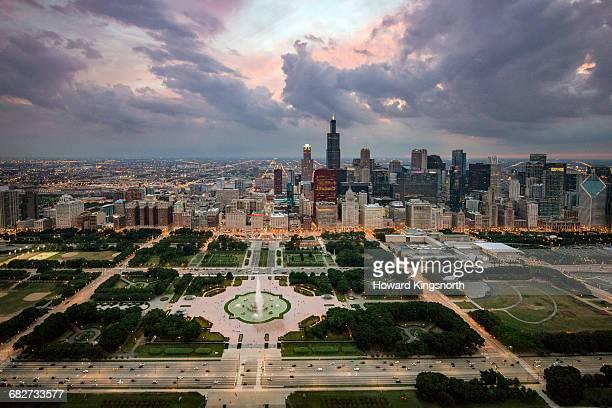 Aerial shot of Chicago at dusk