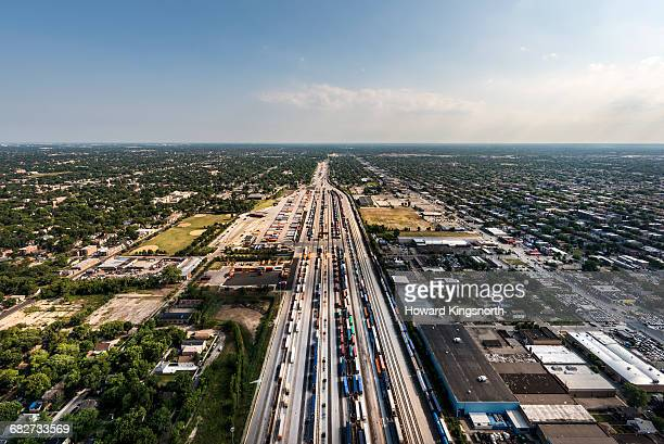 aerial shot of Chicago highway