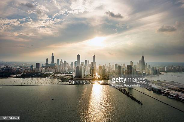 Aerial shot of Chicago waterfront at sunset