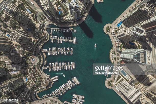 aerial shot of city marina, dubai, united arab emirates - middle east stock pictures, royalty-free photos & images