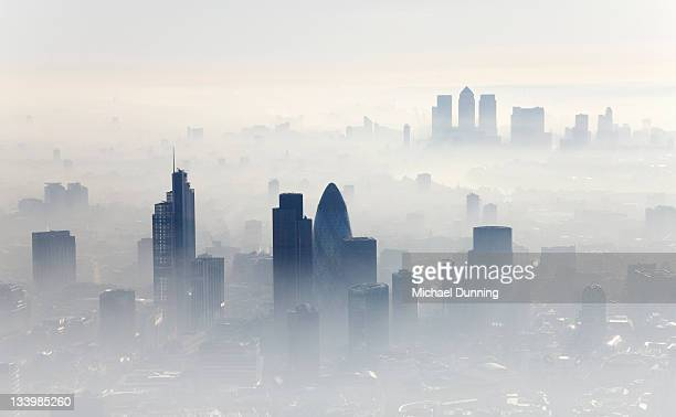 aerial shot of city of london - fog stock pictures, royalty-free photos & images
