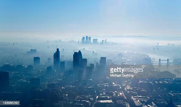aerial shot of city of london - dawn dunning stockfoto's en -beelden