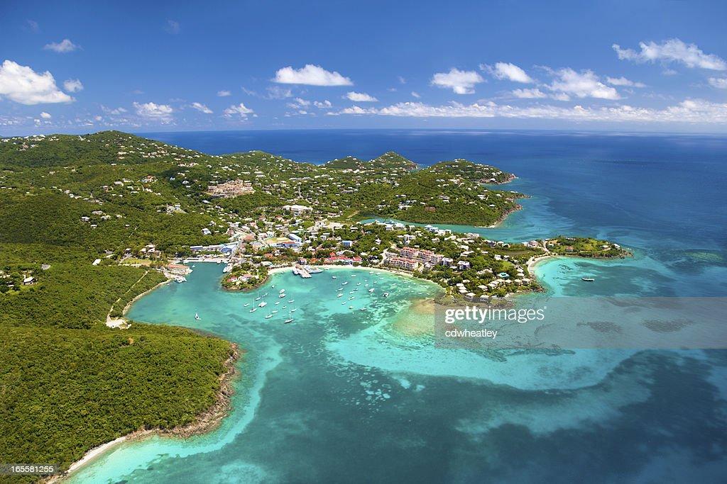 aerial shot of Cruz Bay, St.John in US Virgin Islands : Stock Photo