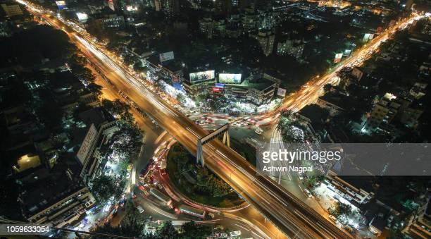 aerial shot of dadar tt circle - ムンバイ ストックフォトと画像