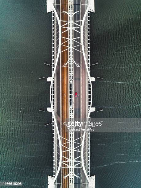aerial shot of enneus heerma bridge, netherlands - brücke stock-fotos und bilder