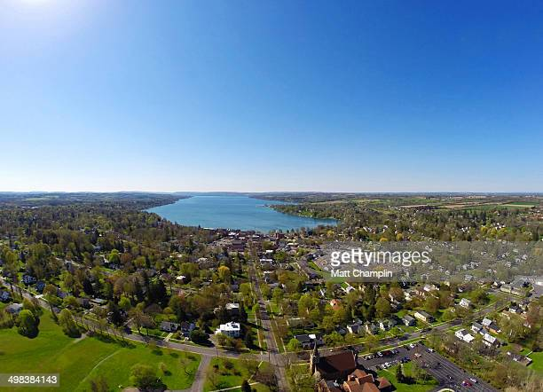 aerial shot of finger lakes - finger lakes stock pictures, royalty-free photos & images