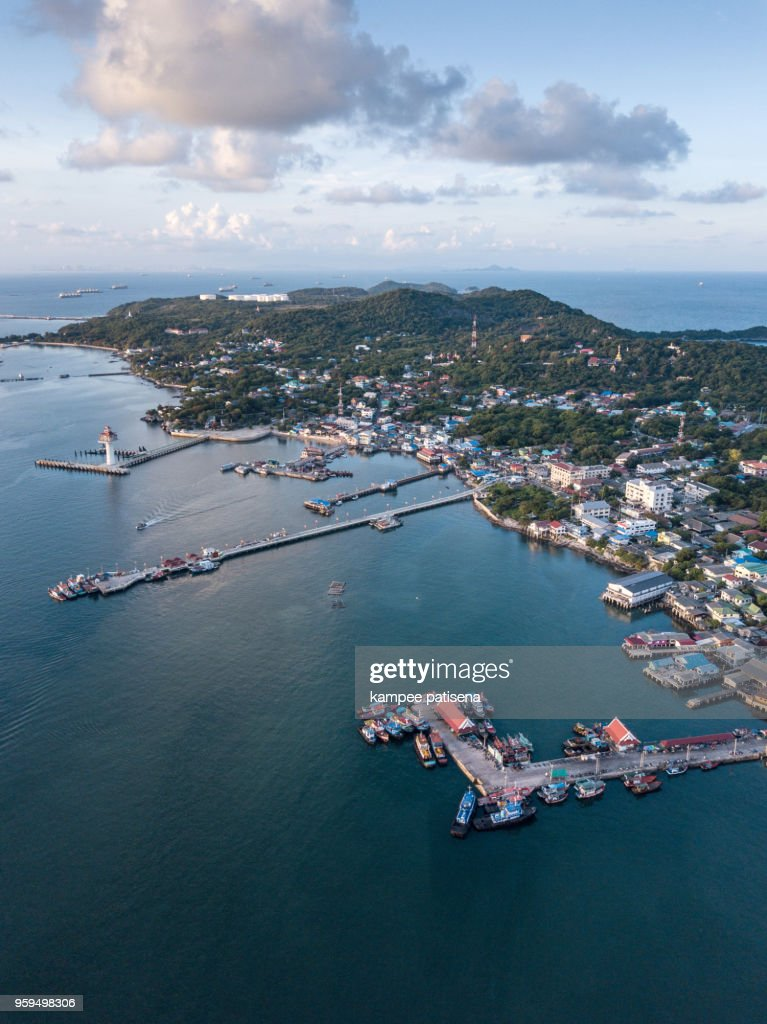 Aerial shot of fishing village at Sichang island is located in the middle of the Gulf of Thailand. : Stock Photo