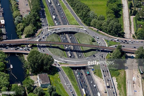 Aerial shot of highway interchange