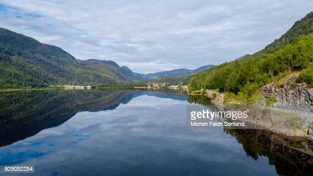 aerial shot of hjartsjåvatnet lake, norway on a summer morning - telemark stock pictures, royalty-free photos & images