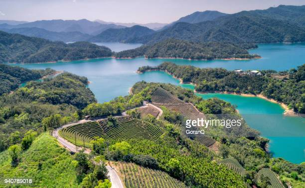 aerial shot of jade reservoir in taipei, taiwan. - taiwan stock photos and pictures
