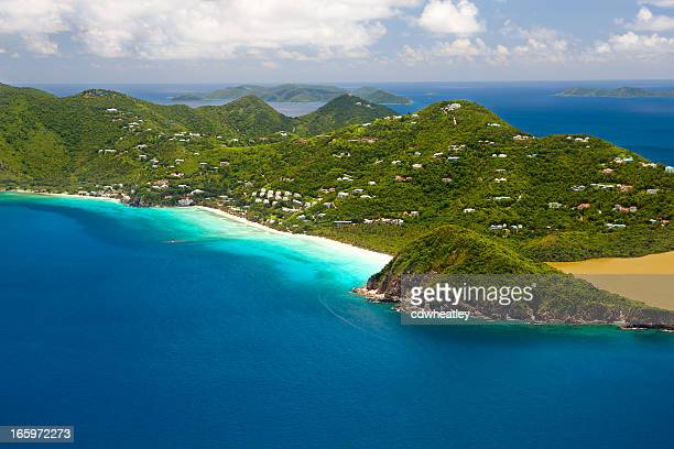 aerial shot of Long Bay in Tortola, British Virgin Islands