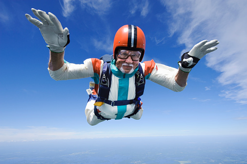 Aerial shot of man skydiving - gettyimageskorea