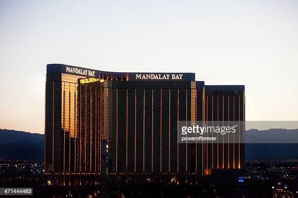Aerial Shot of Mandalay Bay Hotel and Casino Sunset