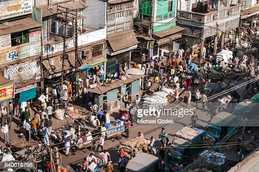 Aerial Shot Of Old Delhi Streets Stock Photo