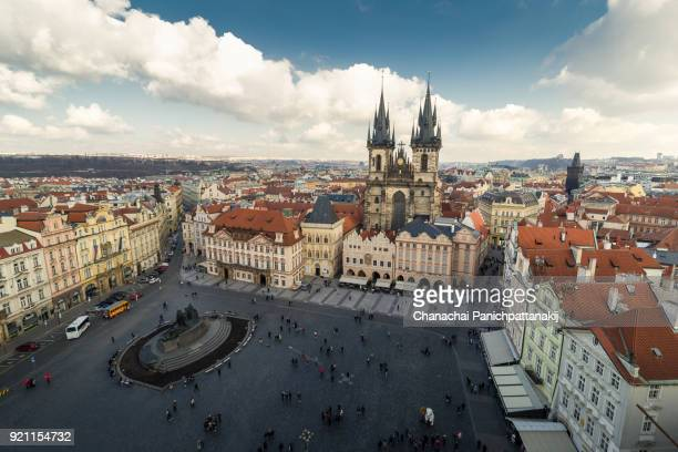 Aerial shot of old town square in Prague
