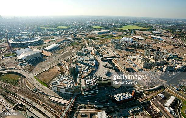 aerial shot of olympic site and stadium - olympic stadium london stock pictures, royalty-free photos & images