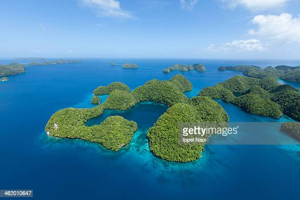 Aerial shot of Palau rock islands and tropical sea