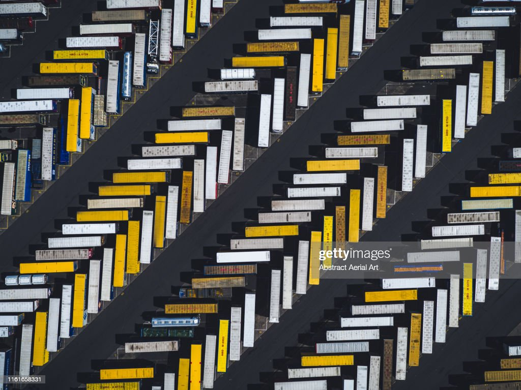 Aerial shot of parked trucks, Scunthorpe, United Kingdom : Stock Photo
