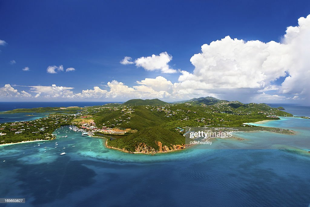 aerial shot of Red Hook, St. Thomas, US Virgin Islands : Stock Photo