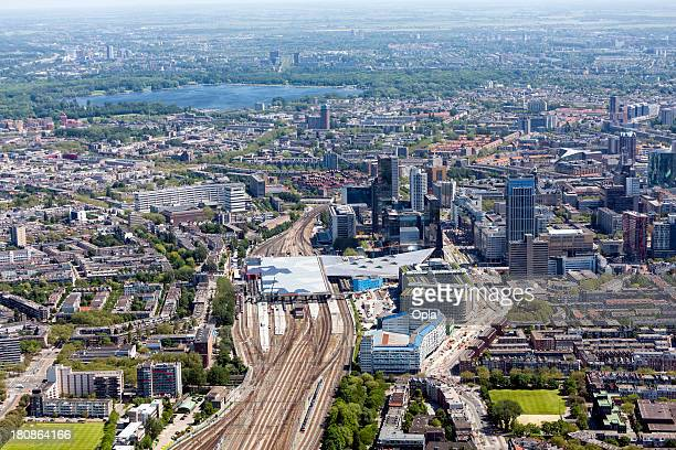 aerial shot of rotterdam central station - rotterdam stock pictures, royalty-free photos & images