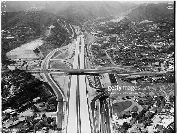 Aerial shot of San Diego Freeway from Wilshire Boulevard to Sunset Boulevard West Los Angeles California March 14 1957