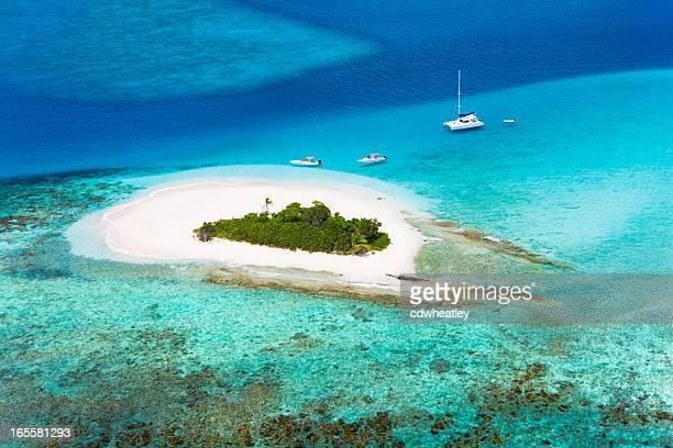 Luftaufnahme von sandigen Landzunge in Britischen Jungferninseln