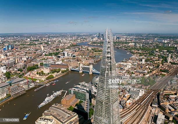 Aerial shot of Shard and City of London
