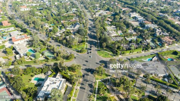 aerial shot of six-way intersection in beverly hills - beverly hills imagens e fotografias de stock