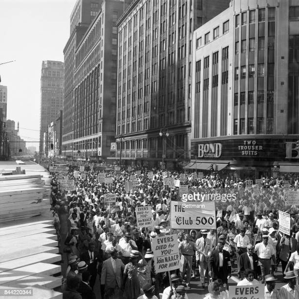 Aerial shot of some of the more than 100,000 people demonstrating in protest of racial discrimination, jam Woodward Avenue, from curb to curb in a...
