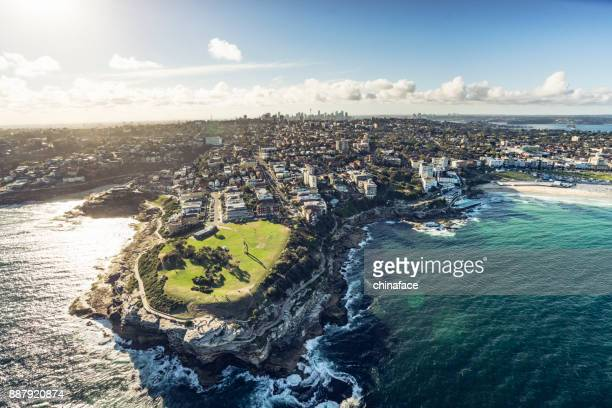 aerial shot of south head - new south wales stock pictures, royalty-free photos & images