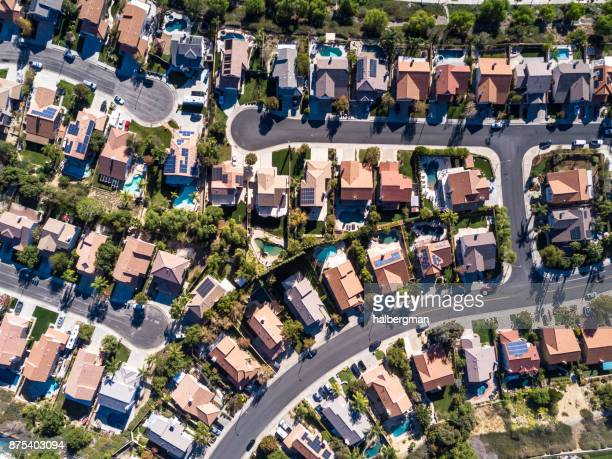 aerial shot of suburban development - american culture stock pictures, royalty-free photos & images
