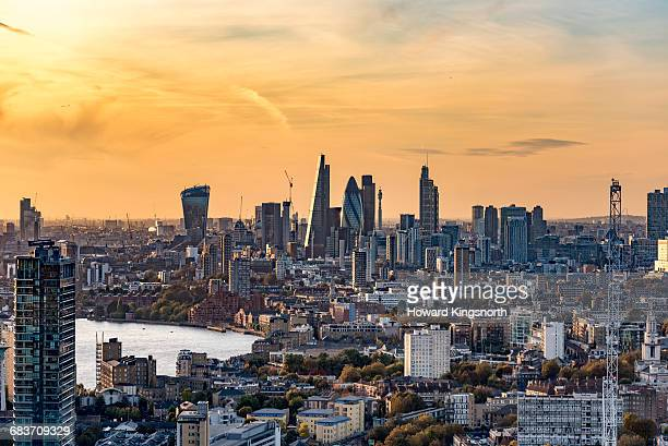 aerial shot of the city of london at sunset - city of london stock pictures, royalty-free photos & images