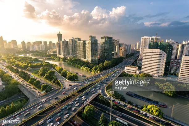 Aerial Shot Of The Grand Canal Flowing Through Hangzhou,China