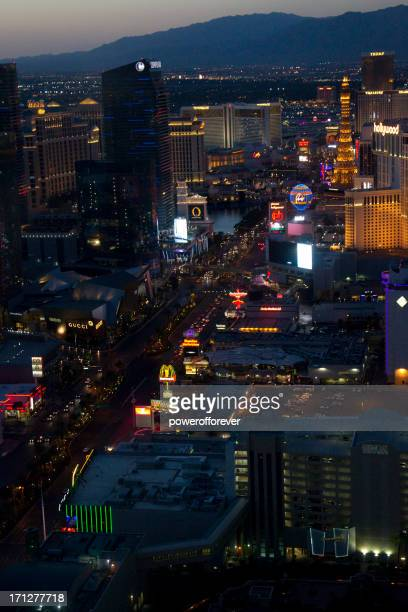 Aerial Shot of the Las Vegas Strip Nighttime