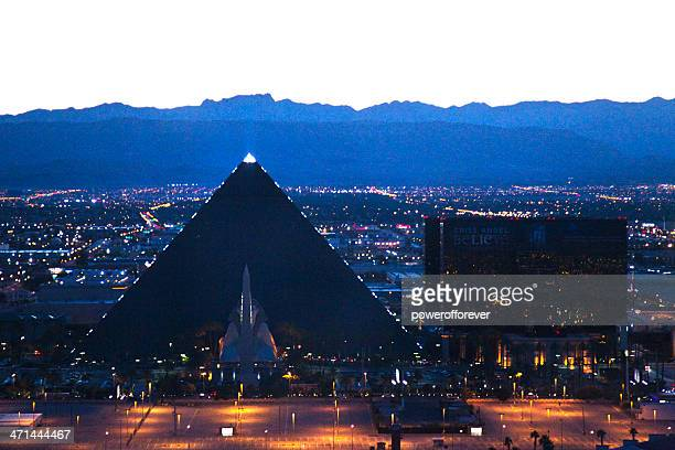 Aerial Shot of the Luxor Hotel and Casino Sunset