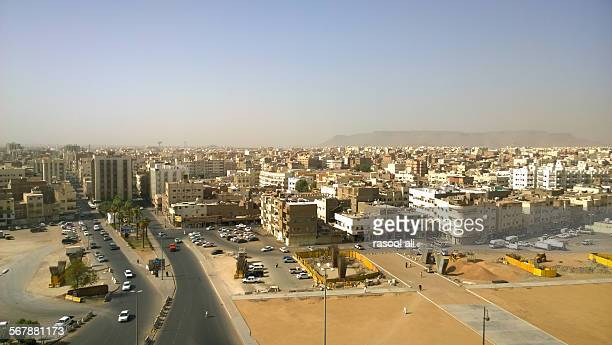 aerial shot of the medina - al madinah stock photos and pictures