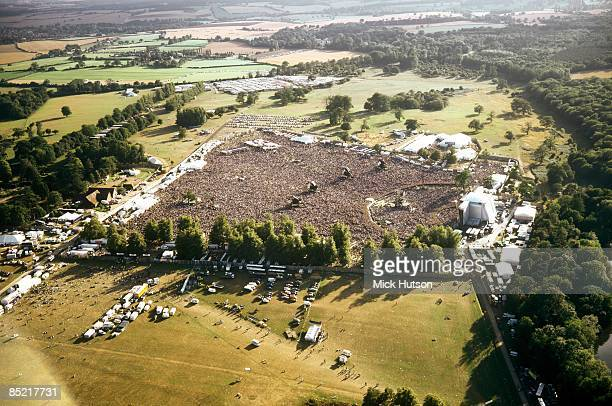 Aerial shot of the Oasis show at Knebworth