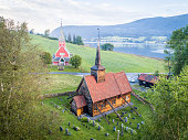 aerial shot 13th century rodven stave