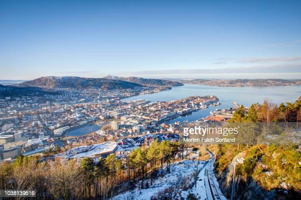 aerial shot of the view of bergen city from mount fløyen, norway wintertime - bergen norway stock pictures, royalty-free photos & images