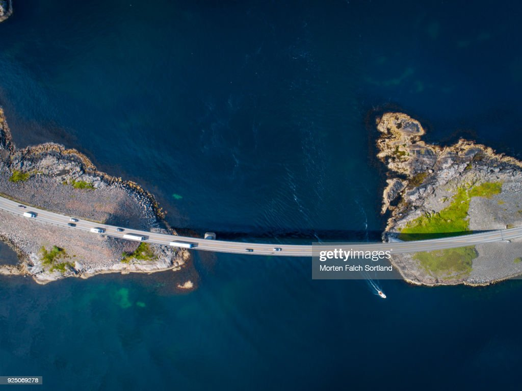 Aerial Shot of the World Famous Atlantic Road in Averoy, Norway on a Summer Afternoon : Stock Photo