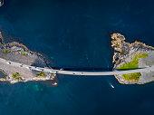 an aerial drone shot atlantic road