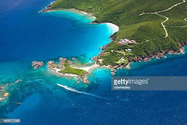 空中ショットのウエストエンド、セントトーマス、アメリカ領バージン諸島