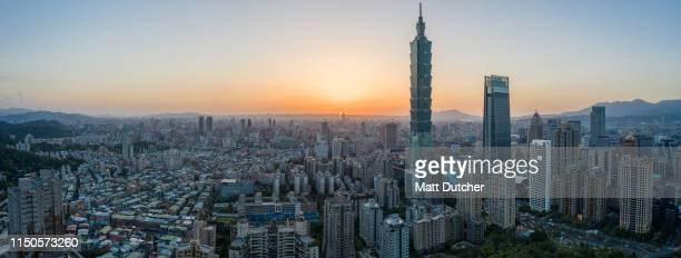 aerial shot panorama downtown taipei, taiwan - taipei stock pictures, royalty-free photos & images