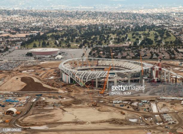 Aerial shot taken over the new Los Angeles Stadium under construction in Hollywood Park Inglewood California near Los Angeles 20 February 2019 The...