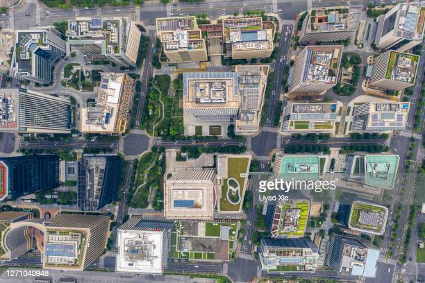 aerial shots of buildings and rooftops - liyao xie stock pictures, royalty-free photos & images